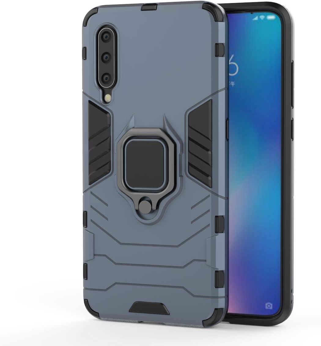 XIFAN Funda para Xiaomi Mi 9 [Robusto] Anillo Metálico Soporte [Funciona con El Montaje De Coche Magnético] Case Carcasa, Azul