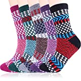 Women Warm Winter Wool Socks Cozy Soft Vintage Boot Socks Pack of 5 (Multicolored Stripe)