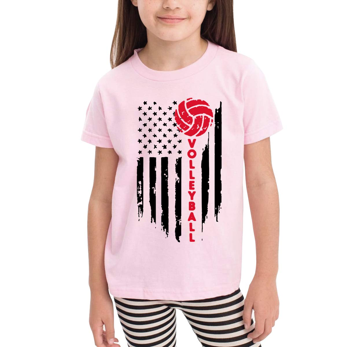 Vy91Lk-8 Short Sleeve Volleyball American Flag T-Shirts for Girls 2-6T Ruffled Sweatshirt