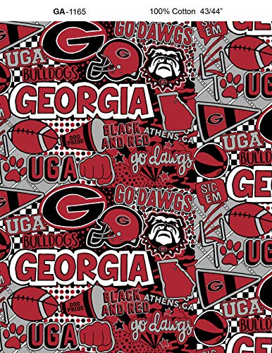 - University of Georgia Graffiti Printed Cotton Fabric with POP Art-Newest Pattern-NCAA Cotton Fabric