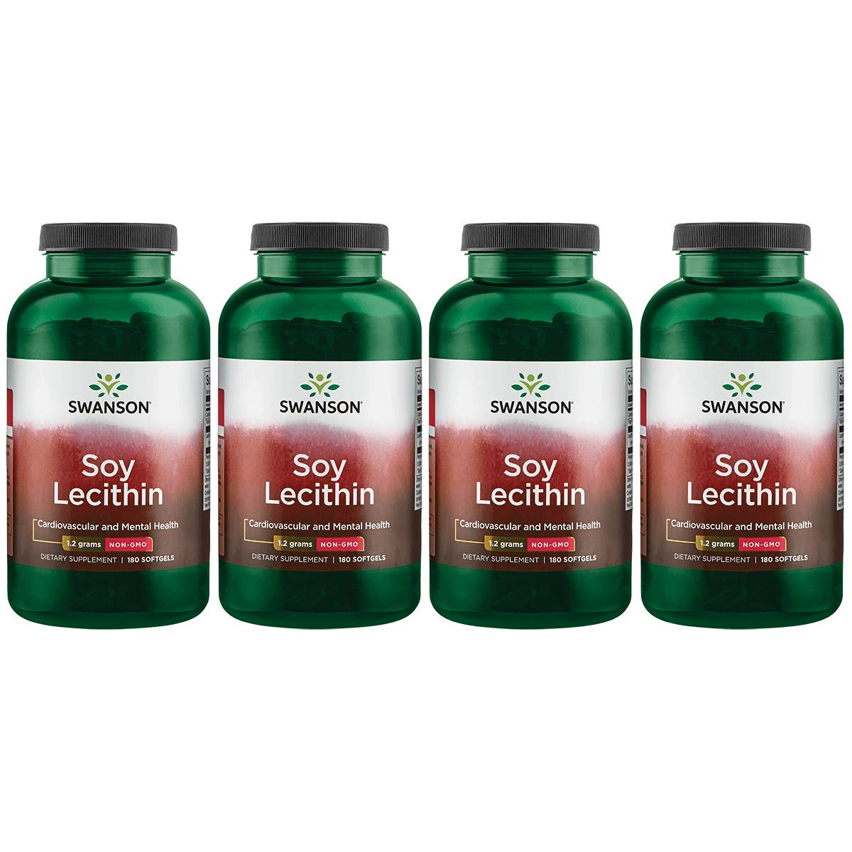 Swanson Soy Lecithin Non-GMO 1.2 g 180 Sgels 4 Pack