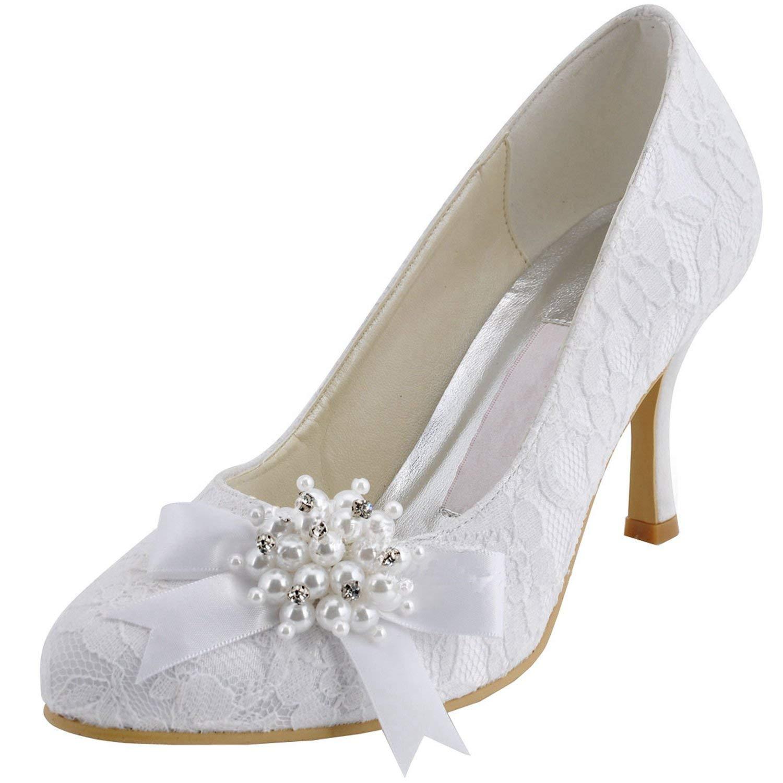 ZHRUI damen MZ563 Round Toe High Heel Perlen Broknot Spitze Braut Pumps (Farbe   Weiß-9cm Heel Größe   6 UK)