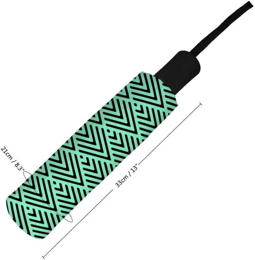 Cheyan Folding Umbrella Windproof Rainproof Portable Lightweight Travel Compact Custom Manual Black Mint Chevron