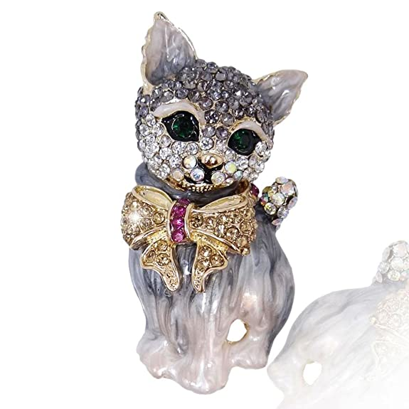 Vintage Style Jewelry, Retro Jewelry EVER FAITH Plump 3D Cat Pet Austrian Crystal Enamel Brooch $16.99 AT vintagedancer.com