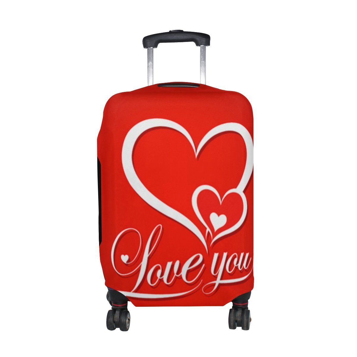 U LIFE I Love You Red Luggage Suitcase Cover Protector for Travel Kids Men Women