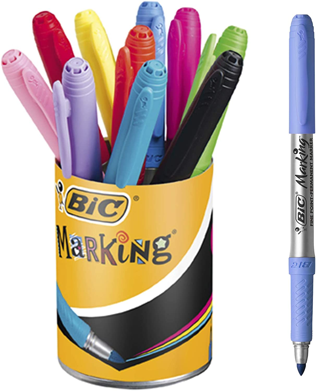 BIC Marking - Bote de 10 marcadores permanentes punta cónica media, colores surtidos en tonos pastel e intensos