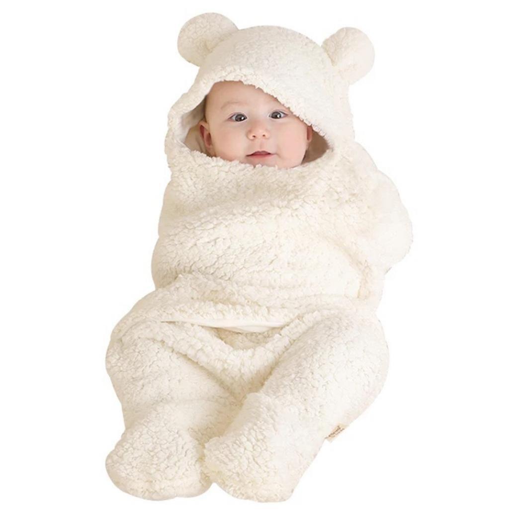 neonato bambino neonato cute Bear Style corallo velluto coperta per sacco a pelo bianco White taglia unica sundatebe