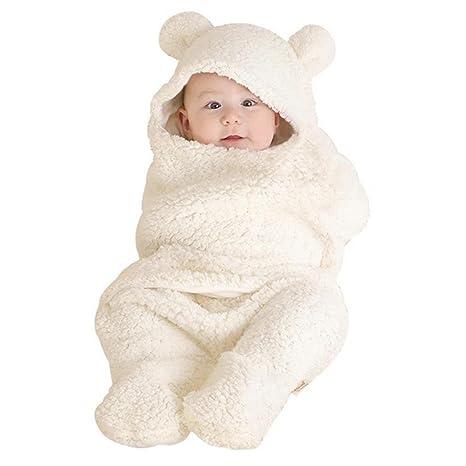 Bebé recién nacido infantil oso estilo Coral Velvet Swaddle Manta Saco de dormir blanco blanco Talla