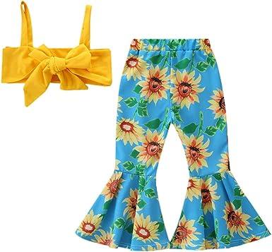 YWLINK Conjuntos NiñA, Verano Mezcla De AlgodóN 2PC Moda Linda Y Sexy Pajarita Chaleco Superior+Girasol Pantalones Acampanados Vestido De Fiesta La Boda Playa Rendimiento Regalo: Amazon.es: Ropa y accesorios