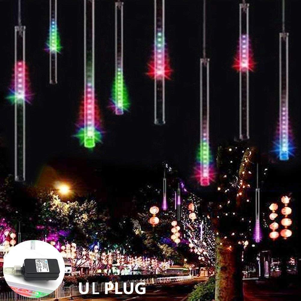 Weepong Meteor Shower Lights UL Certified 144 LED Falling Rain Lights with 30cm 8 Tubes Falling rain Drop Christmas Lights Icicle Cascading Lights for Halloween Party Holiday Garden Tree, Multicolor