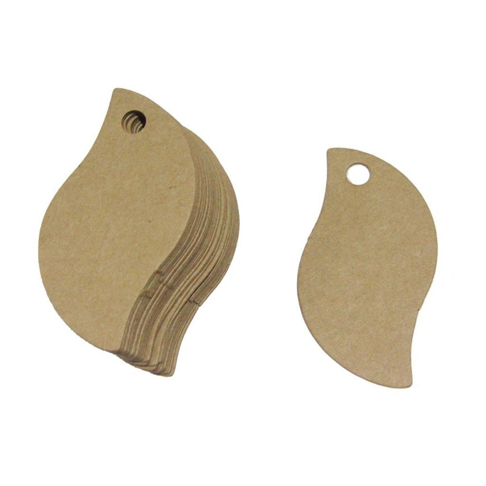 100pcs Rustic Lovely Bird Leaf Shape 50mmx30mm Mini Kraft Paper Card Wedding Favour Gift Tag (Brown)