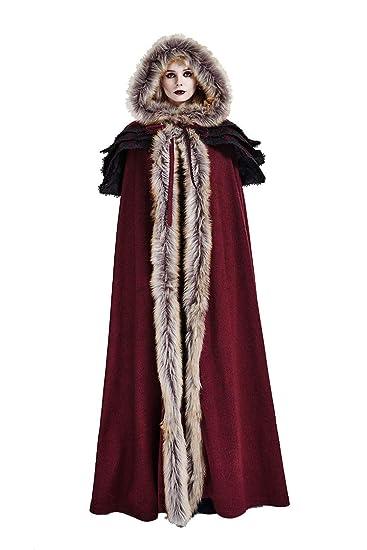 Punk Rave Damen Winter Gothic Kunstpelz Wolle Kragen Langer Cape Mantel Rot 2753618c37