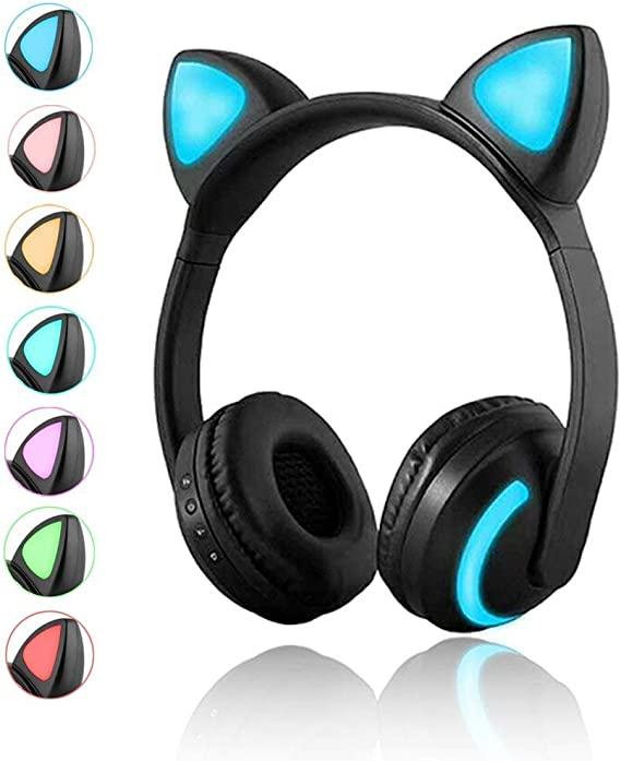 Amazon Com Luckyu Wireless Bluetooth Cat Ear Headphones With Mic 7 Colors Led Light Flashing Glowing On Ear Stereo Headset Compatible With Smartphones Pc Tablet