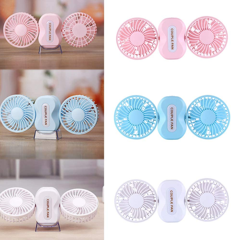 Pink Small/USB Cooling Fan Portable Rechargeable Mini USB Outdoor Travel Folding Couple Fan Air Cooler for Office Outdoor Traveling