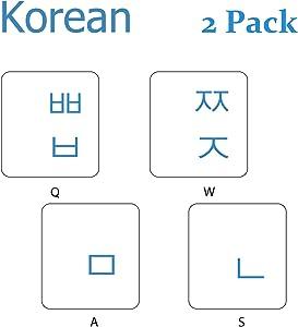 KEANBOLL 2PCS Pack Transparent Korean Keyboard Stickers, Korean Keyboard Replacement Sticker with Transparent Background and Blue Lettering for Computer Notebook Laptop Desktop Keyboards