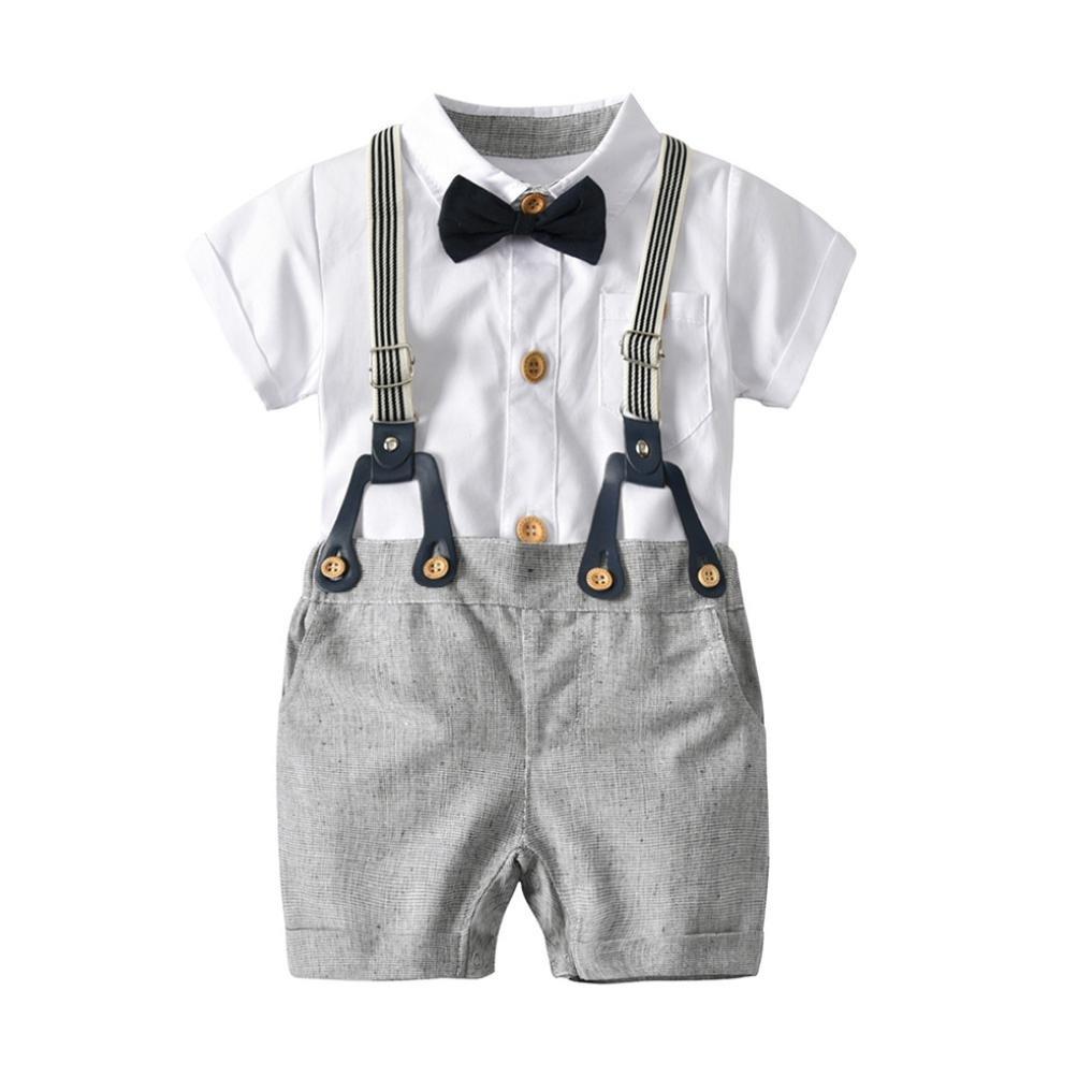 Elecenty bambini vestiti Camicia a maniche corte per neonato Gentleman Bowtie Toddler Baby Boys + Overall Shorts