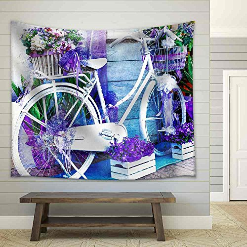 Charming Street with Bike and Flowers Fabric Wall