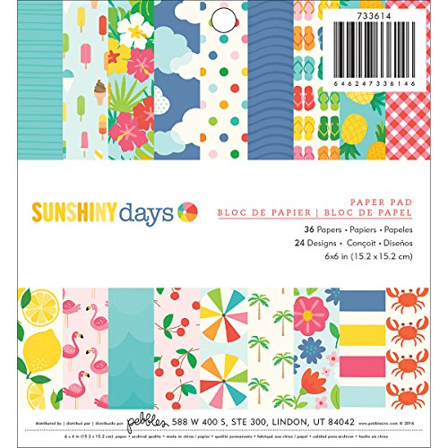 American Crafts 733614 Pebbles Sunshiny Days Paper Pad 6 X 6