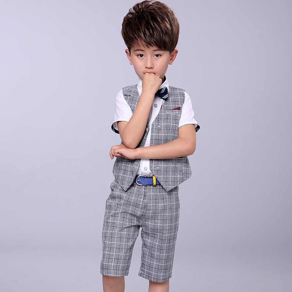 00b887d73 Amazon.com: LOLANTA 4 Pieces Boys Summer Wedding Leisure Suit Vest Shirt  Short with Bowtie: Clothing