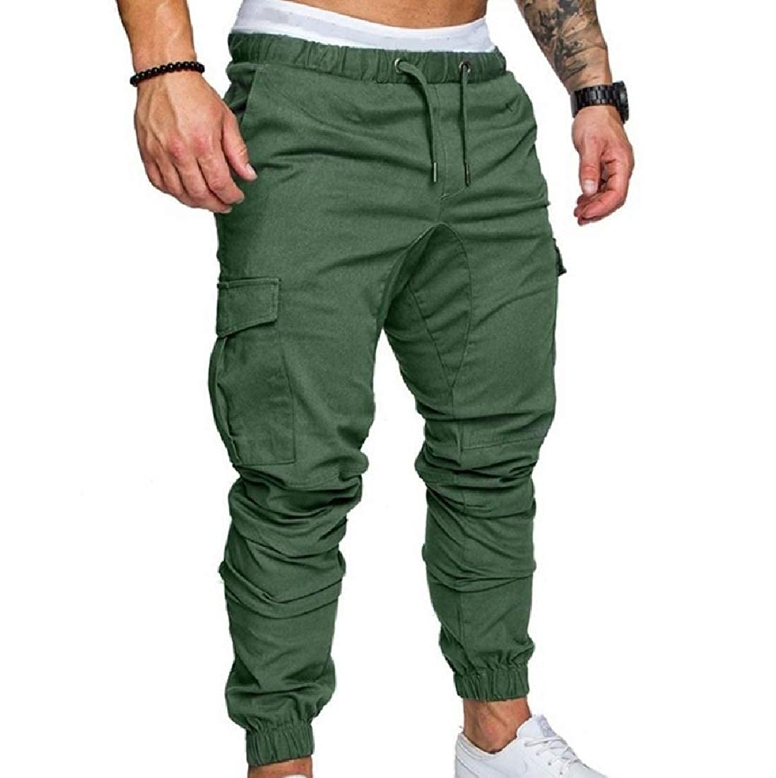 YUNY Mens Leisure Plus-Size Cargo Harem Comfortable Fit Jogger Pants Army Green S