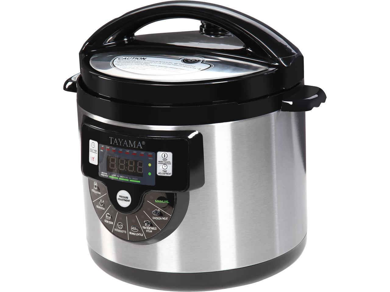 Tayama TMC-60XL 6 quart 8-in-1 Multi-Function Pressure Cooker, Black