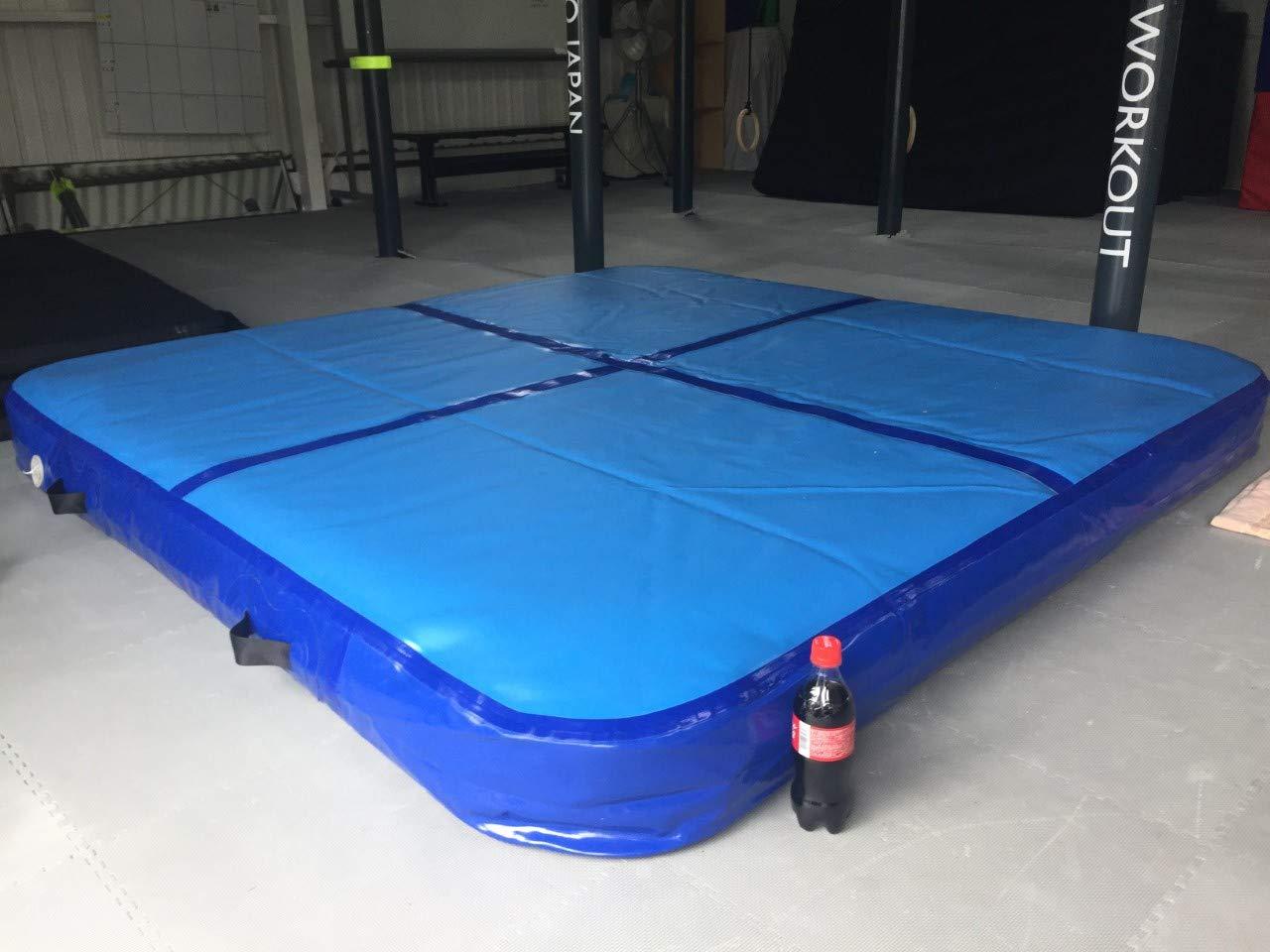 【2m×2m】屋内外エアトラック 電動空気入れ付き!家庭用110V対応。傷修理パッド付き