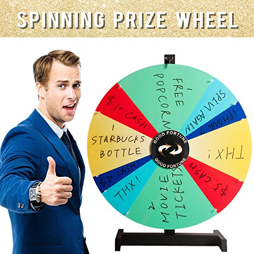 24'' Tabletop Spinning Prize Wheel 10 Irregular Slots with Color Dry Erase Trade Show Spin Game (24 inches)