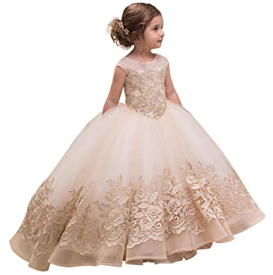 b8f16391445 Amazon.com  Carat Light Champagne Flower Girl Dress Lace Embroidery Kids  Communion Ball Gowns  Clothing