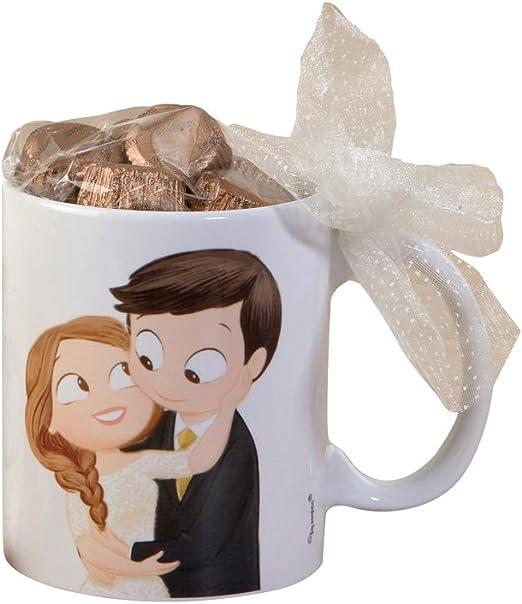 Mopec Pop & Fun Taza para boda de Novios Caricia en Caja Regalo con 6 Bombones, Porcelana, Multicolor, 8.2 x 8.2 x 9.5 cm: Amazon.es: Hogar