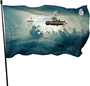 pengyong Garden Flags Aircraft Clouds Steampunk Sky Home Decorations for Indoor & Outdoor,Durable Yard Flag(35 Ft)