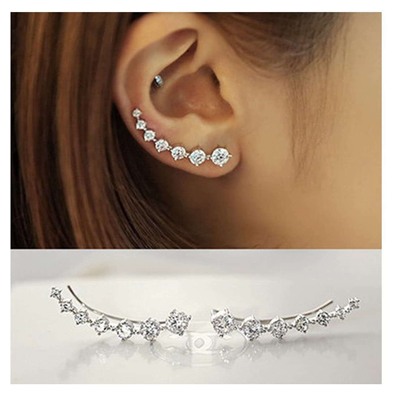 Elensan 7 Crystals Ear Cuffs Hoop Climber S925 Sterling Silver Earrings Hypoallergenic Earring 5B-665C-XH8F