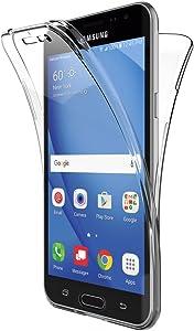 AICEK Funda Samsung Galaxy J3 2016, Transparente Silicona 360°Full Body Fundas para Samsung J3 2016 Carcasa Silicona Funda Case