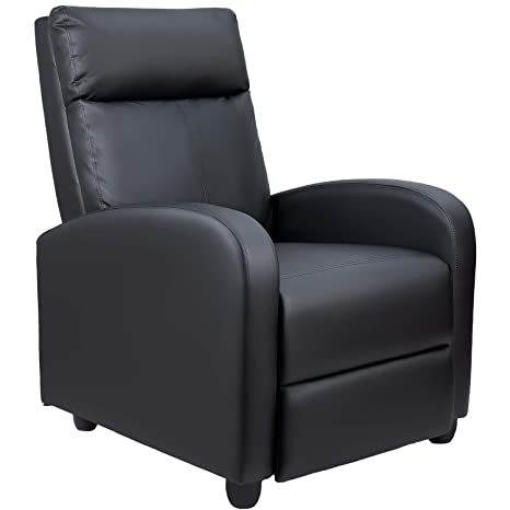 Pleasant Tuoze Recliner Chair Modern Pu Leather Recliners Chair Adjustable Home Theater Seating With Sofa Padded Cushion Black Ncnpc Chair Design For Home Ncnpcorg