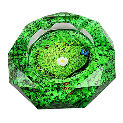 Stylish Smoking Accessories Crystal Ashtray Polygon Shape Glass Ashtray Green