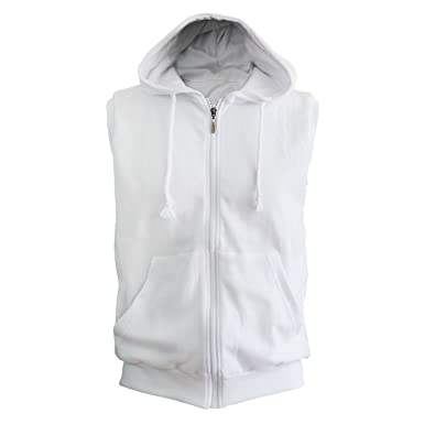 BCPOLO White Sleeveless Zip Hoodie Solid Cotton Hoody Casual Full ...