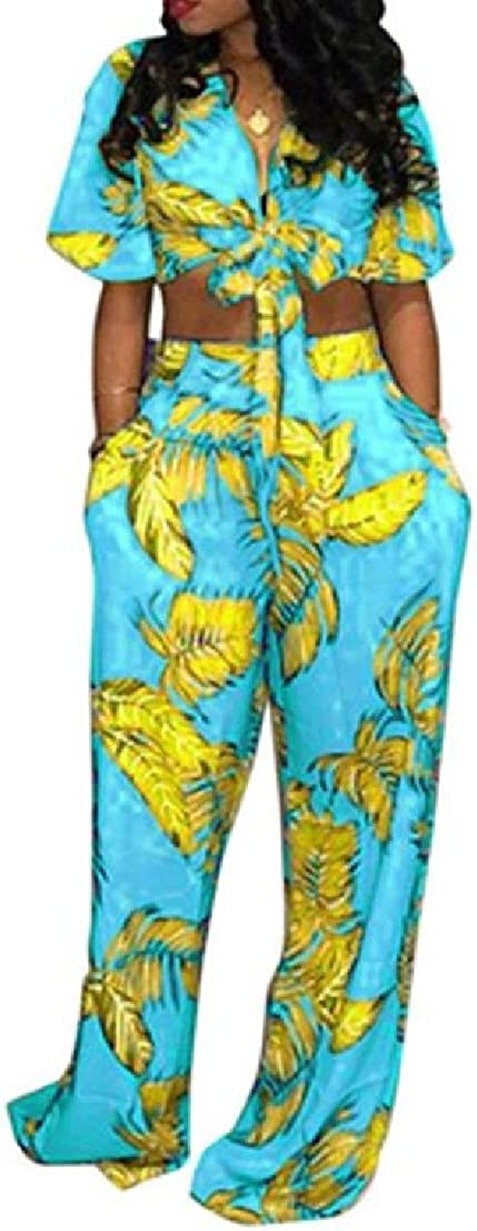 BAYY Womens 2 Pieces Wide Legs Strappy Print OL Jumpsuits Romper Sets