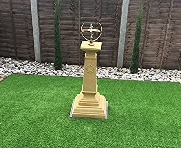 Garden Sculptures U0026 Ornaments Medium Brass York Armillary Sphere Sundial On  Stone Plinth Buff