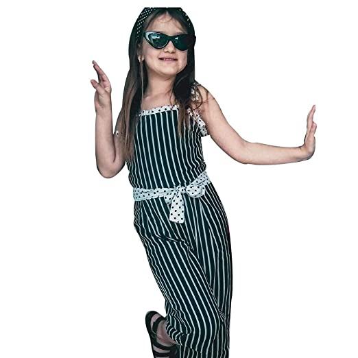 64e2f122469 Tomppy One Piece Toddler Infant Girl Striped Dot Bow Tie-up Tops Romper  Jumpsuit Outfit