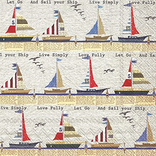 Boston International 20 Count 3-Ply Paper Cocktail Napkins, Ahoy Stripe (Three Sailboats)