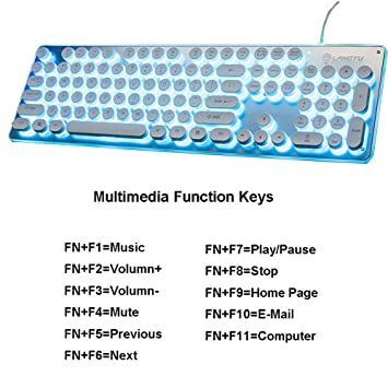 Mute Multimedia Ergonomic Blue Breathing Backlight USB Wired Game Keyboard for PC Laptop//Computer QWERTY Key OFNMD Mechanical Feel Gaming Keyboard