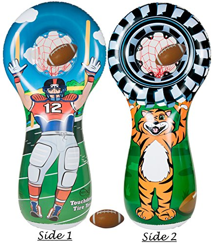 Touch Football Player (Infinafit Touchdown Tire Toss Target Set - Includes One Inflatable 5 Foot Tall Target (Football Player on one side and Tiger Mascot Holding Tire on 2nd side), 3 Mini Footballs & Pump to Inflate Balls)