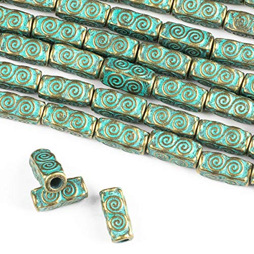 Cherry Blossom Beads Green Bronze Colored Pewter 5x10mm Squared Tube Beads with Spirals and a 2mm Large Hole - 8 inch Strand
