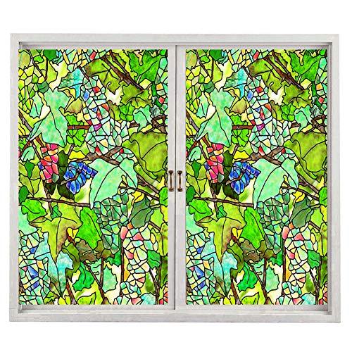 Privacy Window Film, Classical Pattern Non-Adhesive No-Glue Static Illuminative Decorative Privacy Frosted Glass Window,100x60cm(23x39in)