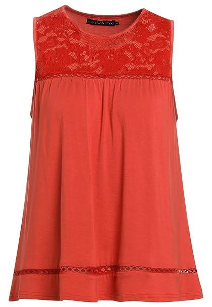 Even&ODD Blusa de Mujer Elegantes Rojo, Talla XS
