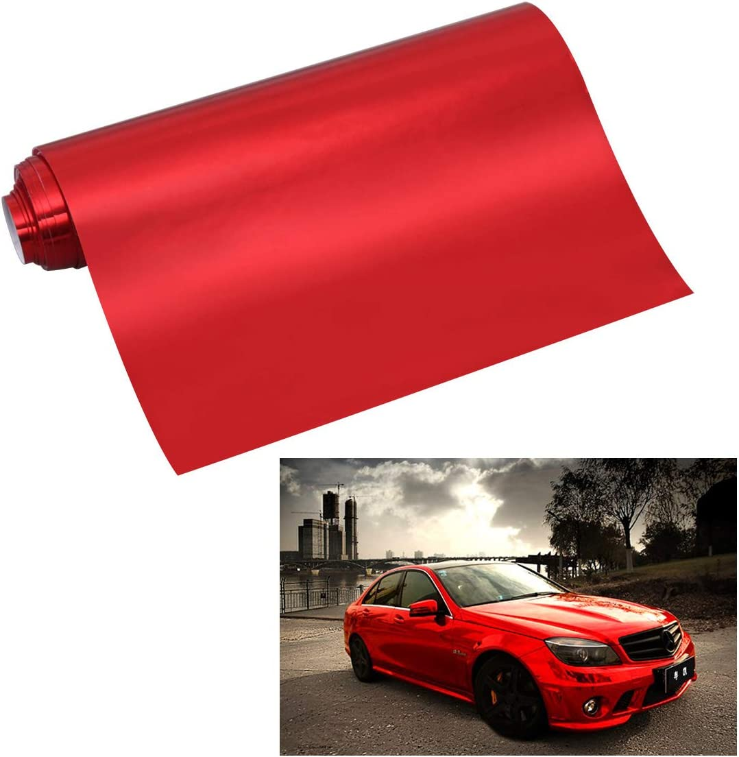 Red LIOOBO 12 x 60 Inch Car Vinyl Film Satin Reflective Electroplating Vinyl Film Adhesive Wrap Sticker Sheet Air Release Adhesive