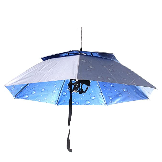 Sombrero Casquillo Plegable Sombrilla Paraguas De Cabeza Al Aire Libre Para Acampar Pesca Senderismo Plata Lluvia