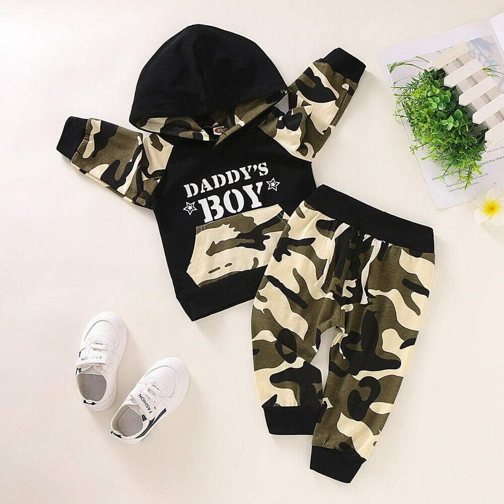 Hosen Outfit 0-1 Jahre Fenverk 2Pc Neugeborenes Kinder Baby Jungs Outfits Kleider Brief T-Shirt Tops Tarnen Hose Kleinkind Lang/äRmlig Kapuzenpullover Sweatshirts