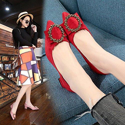 Mujer El Boca Zapatos la Zapatos Zapatos Superficial de Moda Zapatos de Solo de de Perforación Satinado Negrita Qiqi Pro Negros sugerencia con Tacón rojo Xue Agua aSgfqwq