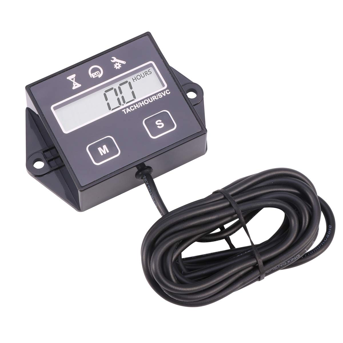 Tacómetro digital Tach para generador de barco pequeño de 2/4 tiempos, cortacésped, motocicleta, motocross, quads, Non-replaceable Battery without ...