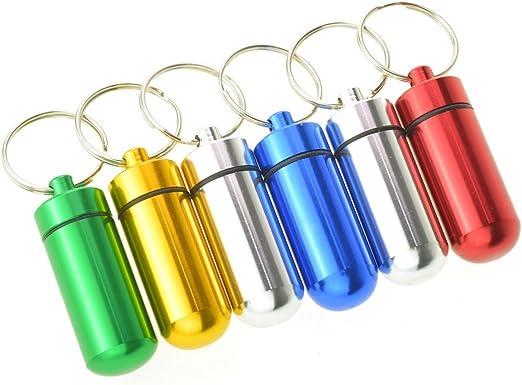 3pcs impermeable hermético pastillero estuche para botella portátil de caché drogas de desplazamiento de aluminio soporte para llavero, color al azar: Amazon.es: Hogar